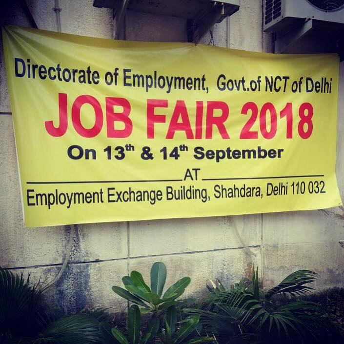 Delhi Govt. Employment Exchange Job Fair 2018.