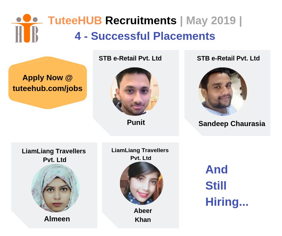 TuteeHUB Recruitments Success Stories - May 2019 - 4 Placed and Still Hiring